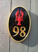 Carved Road Address plaque - House number with lobster or other stock image (HN1) - The Carving Company front view