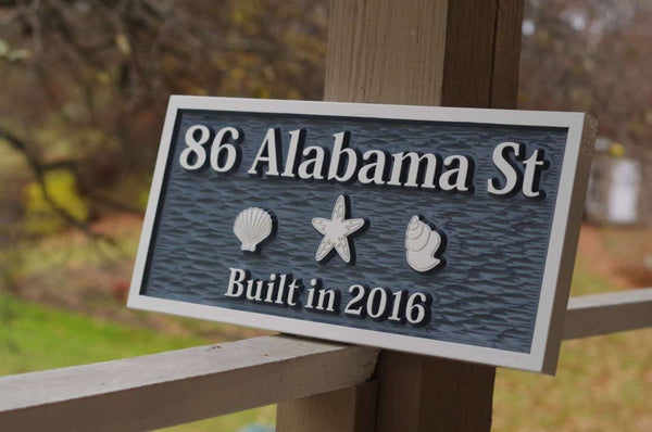 Address sign with sea shells