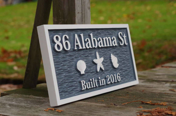 Custom address sign with sea shells