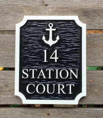 Custom House Marker with Street Name and nautical motif (A94) - The Carving Company