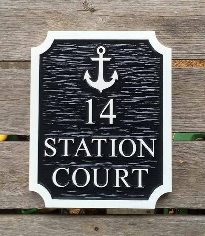 Nautical address sign with anchor image rectangular with notched corners