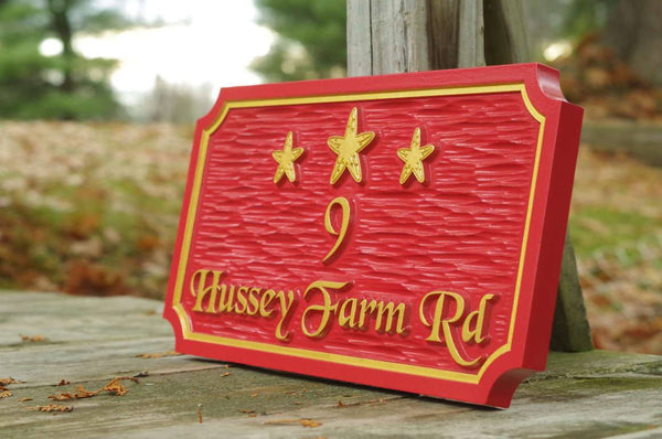 Carved Beach house address sign with starfish