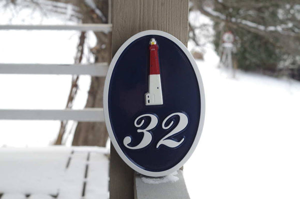 Custom made Barnegate Lighhouse sign with number 32