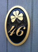Custom Carved Weatherproof House Number sign with Pineapple or other image - Oval (A112) - The Carving Company