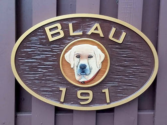 Custom Carved Family Name sign - Personalized address sign - With pet image (LN21) - The Carving Company