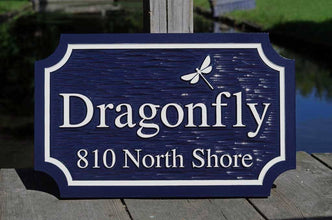 Custom Carved Family Name and Address sign with Dragonfly or other image (LN47) - The Carving Company