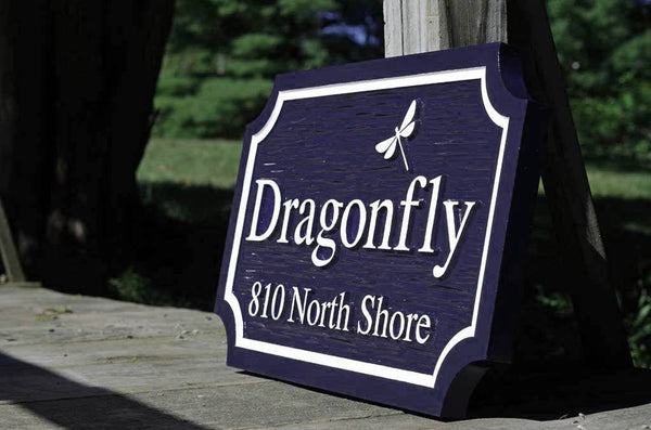 Dragonfly custom carved family name sign painted navy blue and white