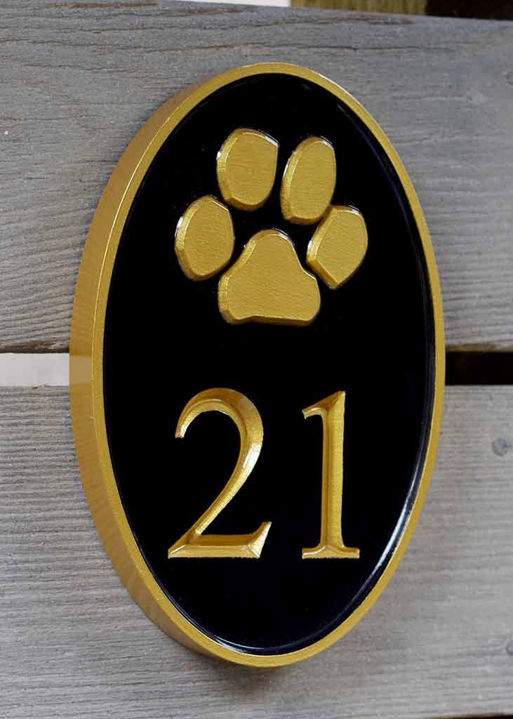 Custom Carved House number with Paw Print, or other image Any Color (A93) - The Carving Company
