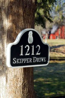 Address sign with arch top pineapple