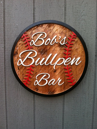 Baseball Bar Cedar Sign - Sports Bar Sign - Personalized - Custom Carved Cedar Signs (BP2) - The Carving Company
