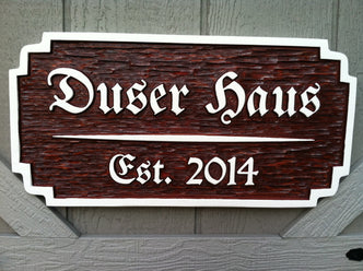 Custom Carved Cedar German Haus established sign (LN13) - The Carving Company