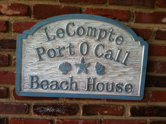 Custom Distressed Beach Address sign with sea shells and starfish (S6) - The Carving Company