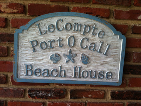 Distressed address sign with beach theme