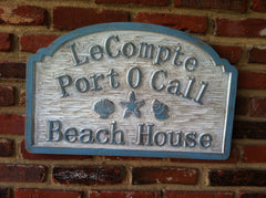 Weathered distressed address sign - beach theme