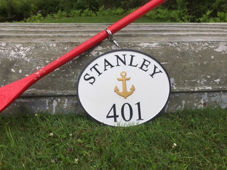Nautical themed House Marker with Last Name and Anchor  (A83) - The Carving Company