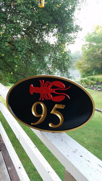 Oval house number sign with lobster horizontal -front