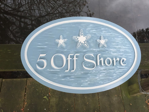 address sign with starfish -front