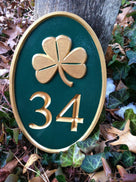 Any color Carved House number with green and gold shamrok oval
