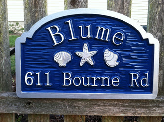 Custom Beach Address sign with sea shells and starfish (S7) - The Carving Company