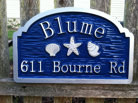All Signs,Address Signs,Beach Signs,Great Gift Ideas,House Number Signs,Family Name Sign - Custom Beach Address Sign With Sea Shells And Starfish (S7)