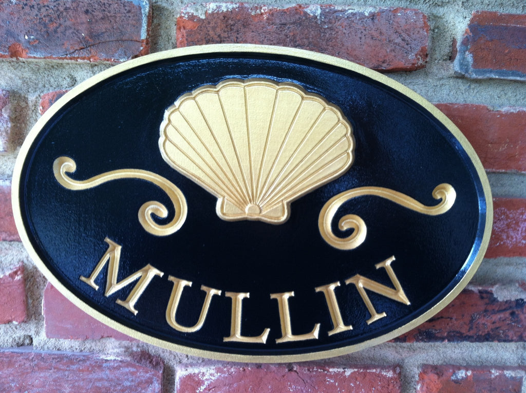 Custom Carved Last name sign with Scallop Shell (LN15) - The Carving Company