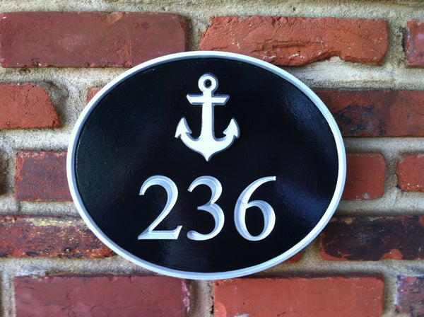 Nautical House Marker Custom Carved Sign With Anchor The
