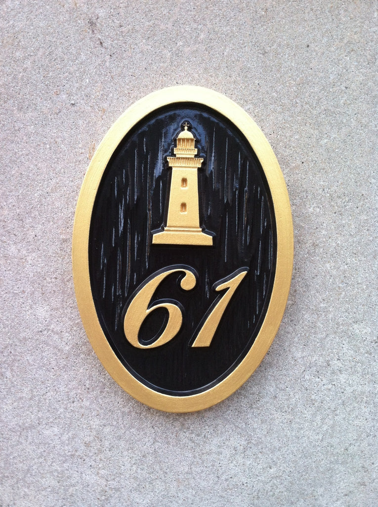 Nautical Carved House Number With Light House Or Other Stock Image (A77)    The