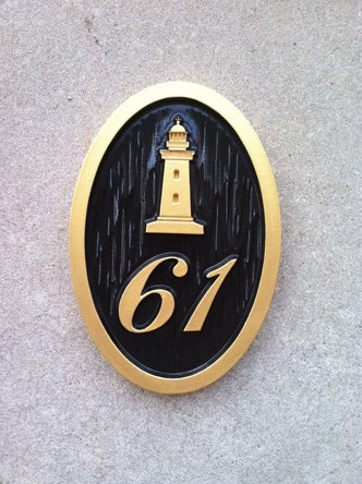 Nautical Carved House number with Light House or other stock image (A77) - The Carving Company