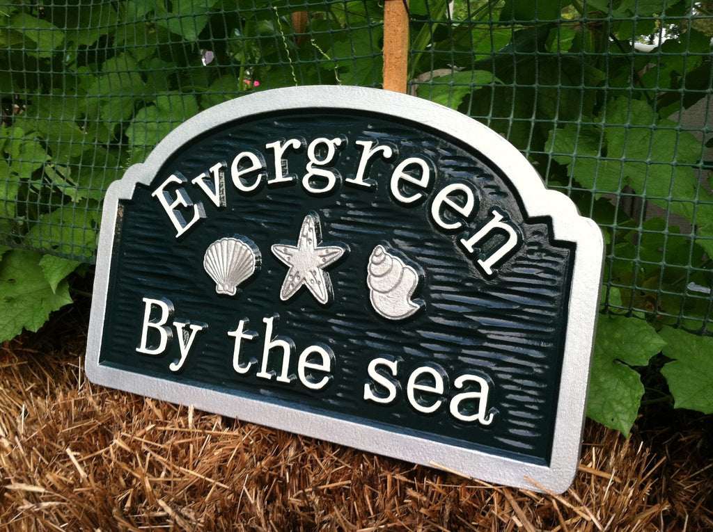 Custom Beach House sign with sea shells and starfish (S5) - The Carving Company