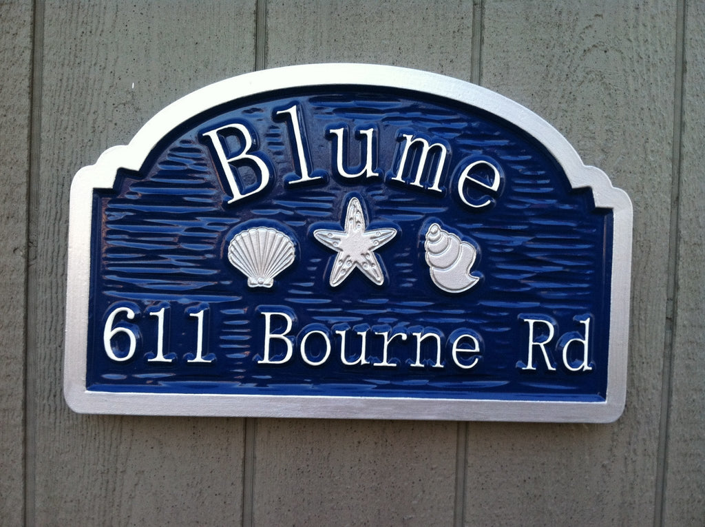 Custom beach house sign with shells and starfish the for Classic house names