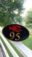 House number with Horizontal Lobster - Maine theme (A86) - The Carving Company