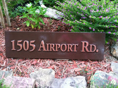 Airport Road Address Sign - Brown and Copper Color