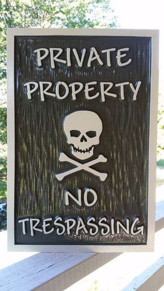 Private Property - No Trespassing with skull and cross bones (B66) - The Carving Company