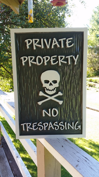 Private property no trespassing sign with skull and cross bones custom colors textured background