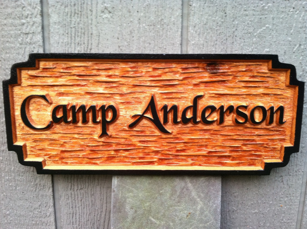 Cedar Carved Rustic Camp Sign - Rectangle with double notched corners (C5) - The Carving Company