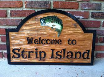 Camp Sign Custom Carved Sign / Lake Sign with Bass fish image (C3) - The Carving Company