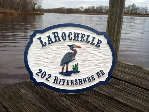 address sign with name and heron -front