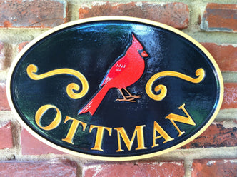 Personalized Last Name Entrance Sign With Cardinal or other bird (A21) - The Carving Company