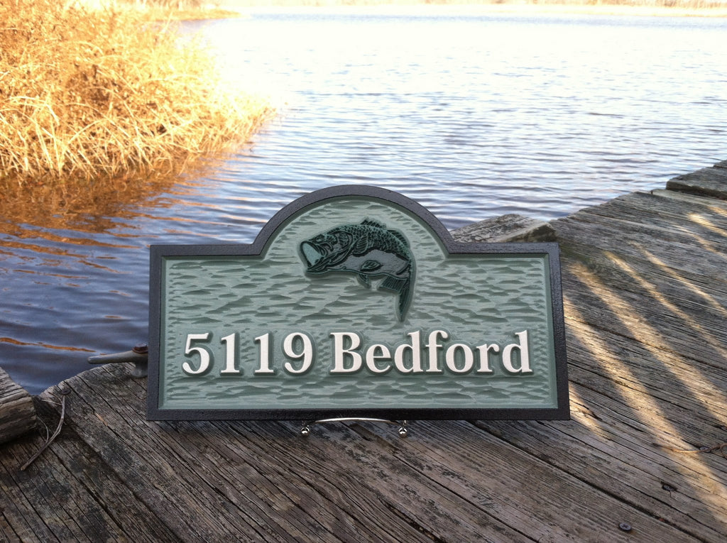 5119 Bedford address sign with bass- front