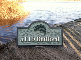 Carved House Marker plaque with Last Name and Bass fish (A214) - The Carving Company