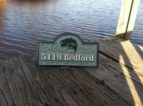 5119 Bedford address sign with bass- front2