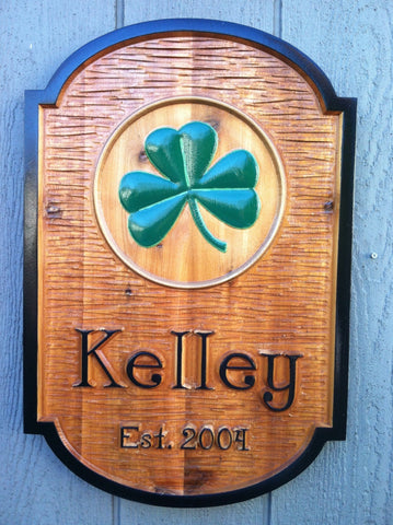 Kelley last name cedar sign with shamrock -front