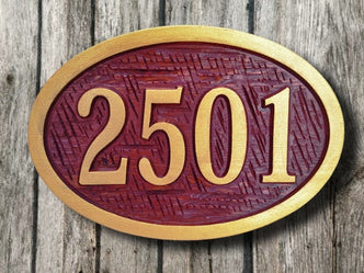 Custom Carved Oval Cedar House Number Sign (A11) - The Carving Company