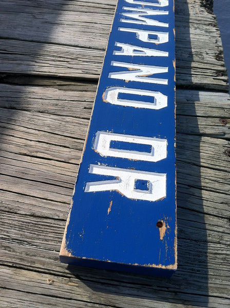 Distressed painted cedar street sign with block font -iso