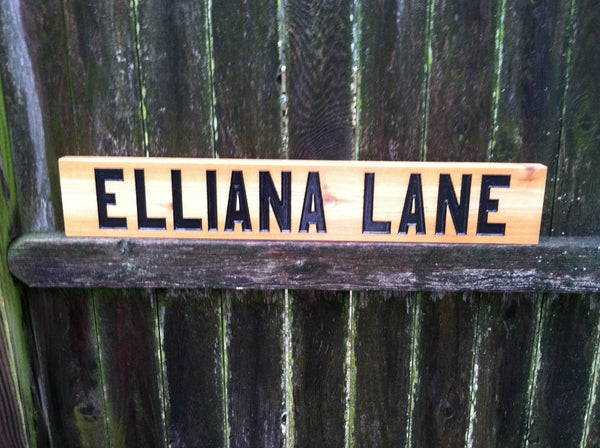 Distressed painted cedar street sign with block font -front3