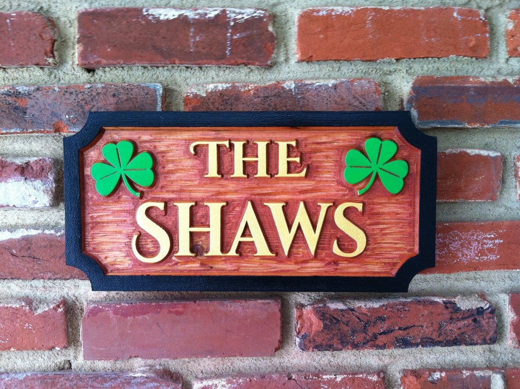 Carved Cedar Family Name With Shamrocks Sign (LN6) - The Carving Company