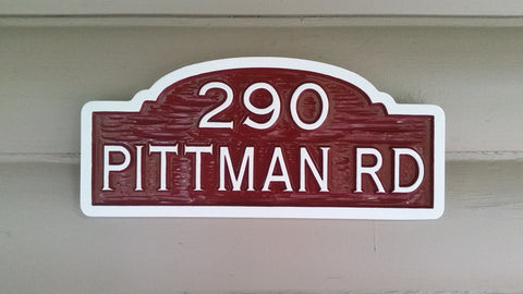 Pittman Rd custom carved address sign -front maroon and white