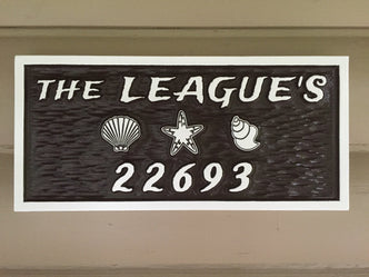 Custom House Marker / Street Number with Last Name plaque - beach theme (LN25) - The Carving Company