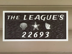Nautical theme rectangle Address Sign with Sea Shells and Starfish
