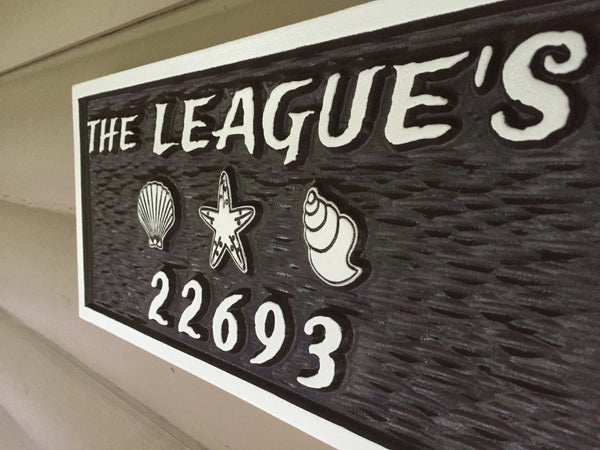 Leagues name and house number sign with beach theme -iso